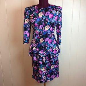 Vintage 80s/90s Multicolored Floral Peplum Dress
